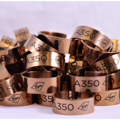 Laser marked metal napkin rings