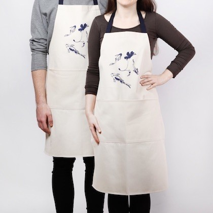 Apron with lucky koi screen print: this unisex natural cotton item makes a rustic gift.