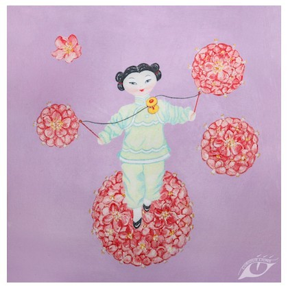 Giclee art print of a spinning acrobat doll painted by UK artist Tess Linder. This makes a pretty gift for a child's room. Size 30 x 30cm.