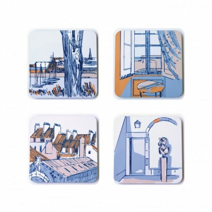 Coaster set of 4, made from cork and a hard wipeable laminate depicting french port of St Malo.