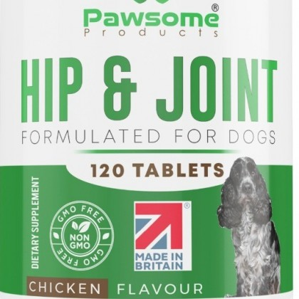 Hip and Joint Supplement for Dogs with Glucosamine x 120 Chicken Flavoured Chewable Tablets