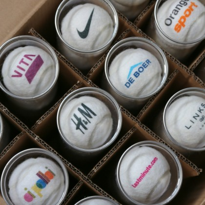 Coloured Logo on White Tennis Balls