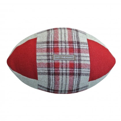 """Lazy Lineout"" Rugby Ball Cushion - Rose"