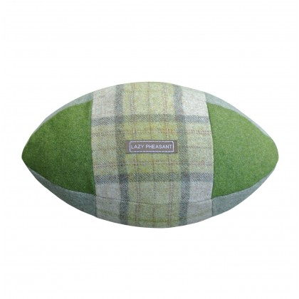 """Lazy Lineout"" Rugby Ball Cushion - Emerald"
