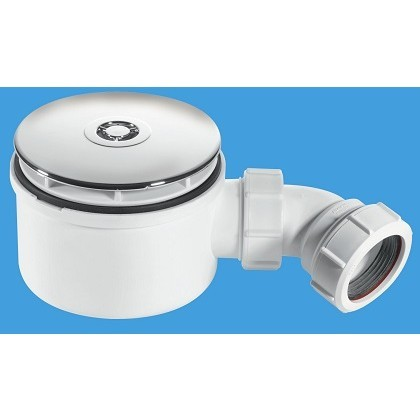 ST90CP10-70   -   90mm x 50mm Water Seal Shower Trap with 113mm Chrome Plated Plastic Dome Top