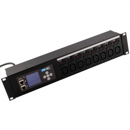 Intelligent 8 way IEC 60320 C13 10A shuttered sockets Horizontal PDU with a 16A IEC 60309 (IEC309 / BS4343 / Commando) plug