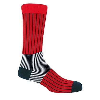 Oxford Stripe Men's Socks - Scarlet