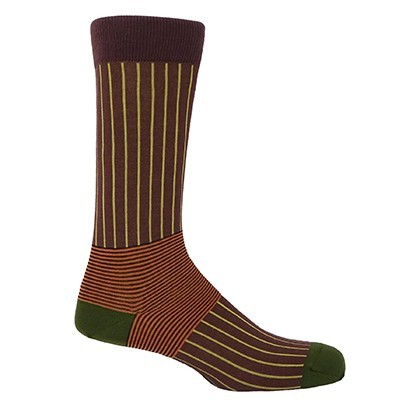 Oxford Stripe Men's Socks - Brown