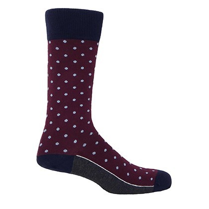 Pin Polka Men's Socks - Burgundy