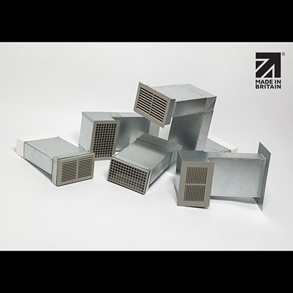 Rytons A1 Fire-rated Ducting Kits 220mm x 90mm with Double Air Brick Grilles