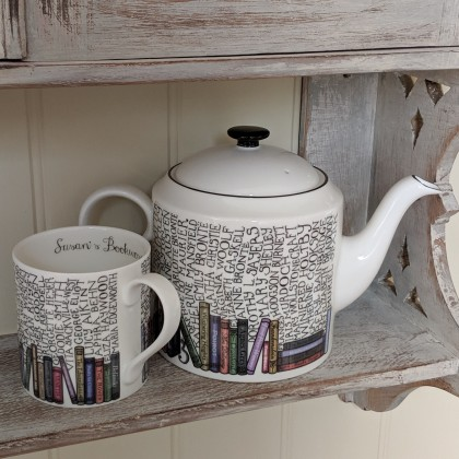 Bookworm Teapot and personalised matching mugs