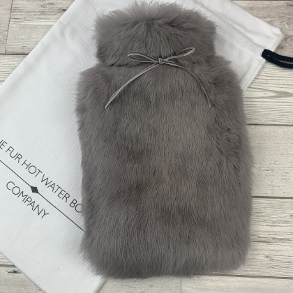 Grey Luxury Fur Hot Water Bottle