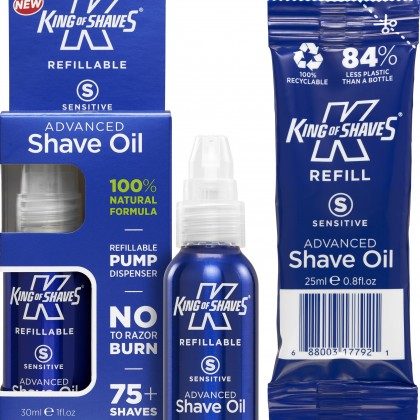 King of Shaves Sensitive Advanced Shave Oil Refill 100% Natural 25ml