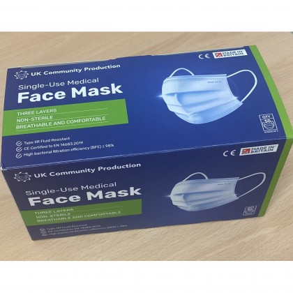 Single-Use Medical Face Mask Type IIR (50 pcs) - UK Made, EN14683:2019