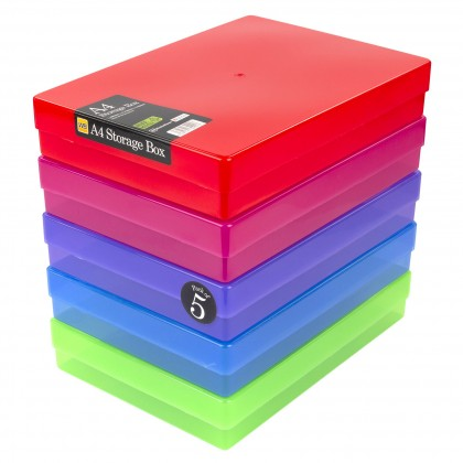 WestonBoxes A4 Plastic Storage Box, MultiColour