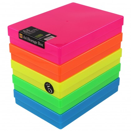 WestonBoxes A4 Plastic Storage Box, Neon
